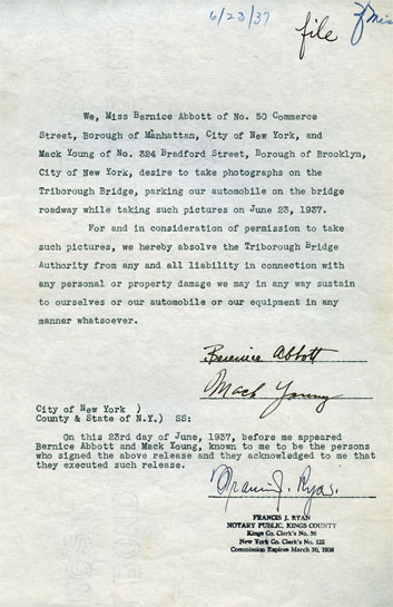 Photo Berenice Abbott's letter to TBTA