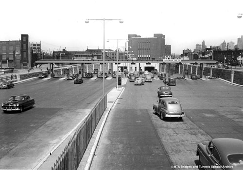 Brooklyn toll plaza looking toward Manhattan, circa 1950.