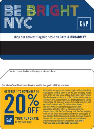 Description: Gap MetroCard