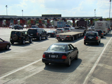 Throgs Neck Bridge toll plaza where it is clear that E-ZPass is the way to go!