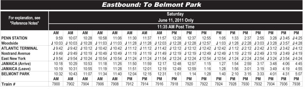 To Belmont Schedule
