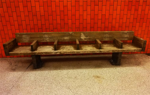 Photo of Wooden Subway Bench