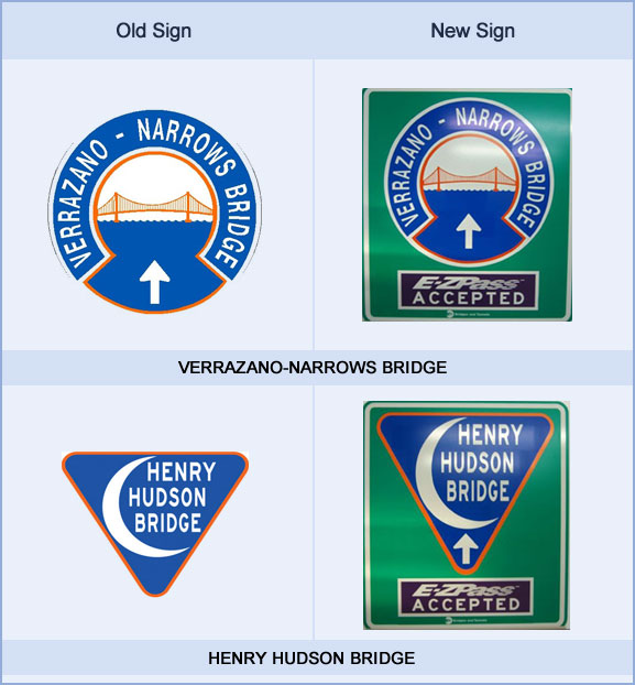Side by side look at original trailblazer signs from the Henry Hudson and Verrazano–Narrows bridges and the new version, which incorporates the original design.