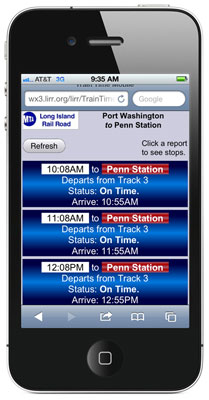 Photo of LIRR Train Time screen