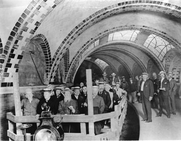 Photo of IRT subway inspection tour prior to opening, with dignitaries at City Hall station, 1904.