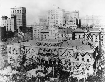 Photo of official ground-breaking ceremony for the IRT Rapid Transit Railroad on the steps of City Hall, March 24, 1900.