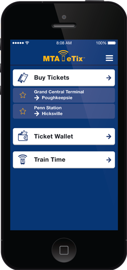 Screenshot of eTix<sup>®</sup> Smartphone app
