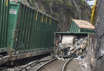 Derailed Freight Car