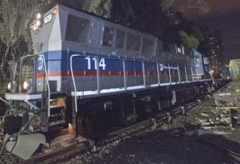 Metro-North Locomotive On Scene of Salvage Efforts