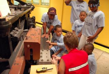 Summer Campers Checking Out A R1-9 Subway Car Motor Truck