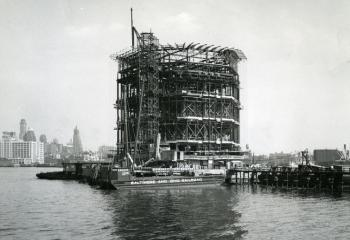 The Governor's Island vent building frame goes up