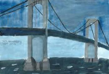 Winning drawing of bridge in hues of blue