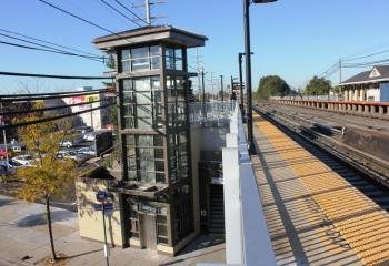 One of two newly built elevators at LIRR's Queens Village Station