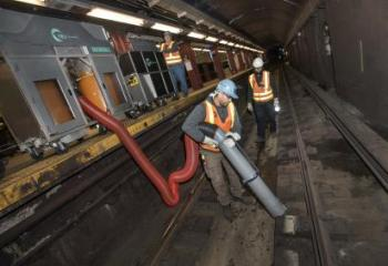 The MTA is testing two prototypes of powerful – but portable -- track vacuum systems that can be quickly deployed, operated from platforms, and moved easily from one station to the next.
