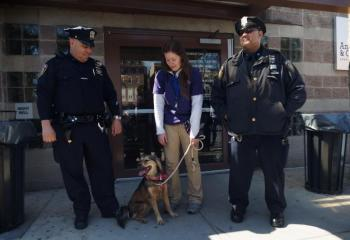 MTA Police Officers Luis Alvarez and Errold Borges at Animal Care & Control.