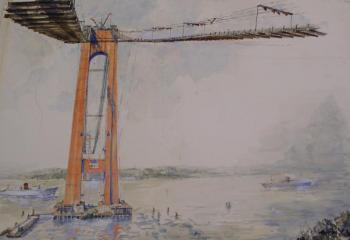Watercolor depicting the building of the Verrazano-Narrows Bridge