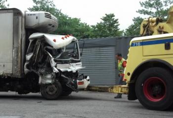 Box truck where two were rescued from fiery accident