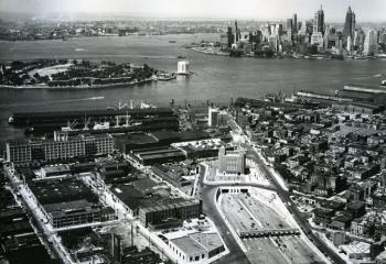 Brooklyn toll plaza with Governor's Island vent building in background