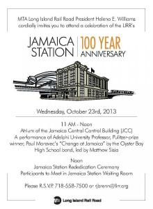 Jamaica Station 100th invitation