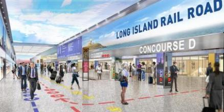 Rendering of Penn Station redesign which includes A,C,E and 1,2,3 station