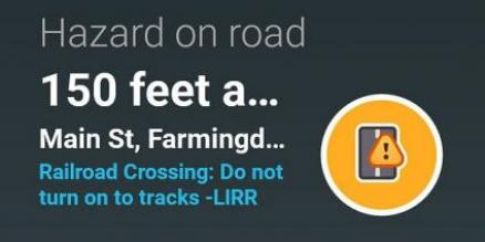 MTA LIRR, in a first-ever feature integrated into Waze, is improving railroad crossing safety by warning motorists using the GPS app of upcoming train tracks. Seen here at the Main Street crossing in Farmingdale, drivers are notified that they are approaching train tracks and are cautioned not to turn onto them.