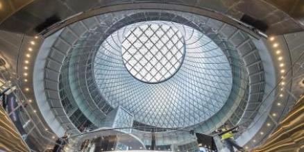 Fulton Center has day-lighting, water efficient fixtures, and more than 50 percent of its energy usage comes from renewable sources.