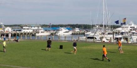 Soccer by the harbor in Greenport, L.I. (Photo by Katharine Schroeder for GreenportVillage.com)