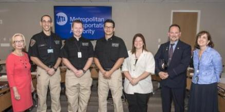 (*photo caption, left to right, Susan G. Metzger, Chair Metro-North Railroad Committee; Andrew Seicol, Assistant Fire Chief, GCT Fire Brigade; James Tipa, Fire EMS Officer, GCT Fire Brigade; Jonathan Lee, Chief, GCT Fire Brigade; Danielle Bonge, Metro-North Railroad Engineer; John O'Brien, Metro-North Railroad Conductor; Catherine Rinaldi, Acting President, Metro-North Railroad)