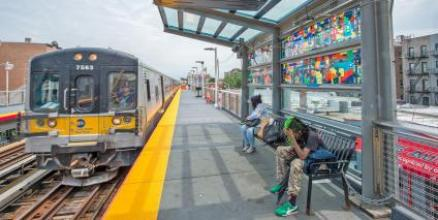Platforms Canopies, Vibrant New Art Glass at Nostrand Ave