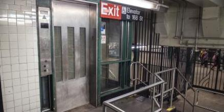 One elevator at the 168 St station, which is a deep subway station.