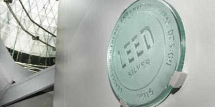 Fulton Center LEED certification plaque