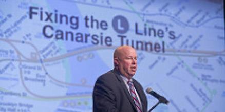 MTA Chairman and CEO Thomas F. Prendergast spoke in May at a Manhattan community meeting to discuss future Canarsie Tunnel reconstruction work.