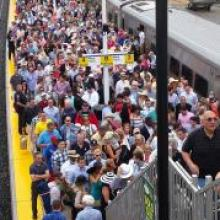 LIRR customers at Belmont station for Belmont Stakes